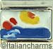 FINAL SALE Italian Hand Painted Water Scene with Rocks
