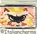 FINAL SALE Italian Hand Painted Angry Cat Face on Pink