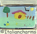 FINAL SALE Italian Hand Painted Yellow House with Tree and Fence