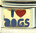 Blue I Love Dogs Text on Gold