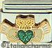 Claddagh with Sparkle Green Heart