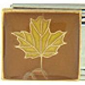 Golden Oak Leaf on Brown