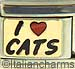I Love Cats on Gold with Red Heart