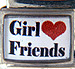 Girl Friends on White with Red Heart