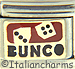Bunco Text with Dice on Red