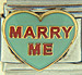 FINAL SALE Necco Sweetheart Marry Me on Green Heart